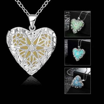 Luminous Photo Frame Heart Type Necklace Fluorescent Stone Hollow Locket Cage For Women Night Light KQS