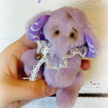 Big sale! Small teddy elephant Lavender Macaroon in shabby chic style Teddy toy Stuffed elephant Miniature teddy Gift for her