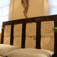 Antique Door Headboard with Ceiling Tin by alexg1785 on Etsy