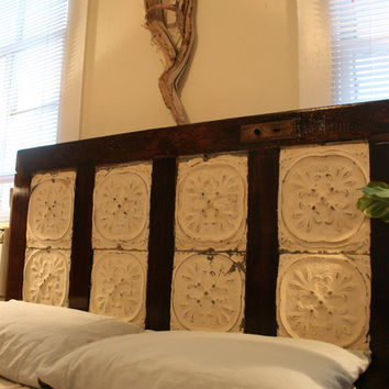 Antique Door Headboard with Ceiling Tin by DoormanDesigns on Etsy