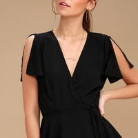 Think Chic Black Peplum Wrap Top