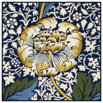 Kennet Design Detail 4 by Arts and Crafts Movement Founder William Morris Counted Cross Stitch or Counted Needlepoint Pattern - Counted Cross Stitch
