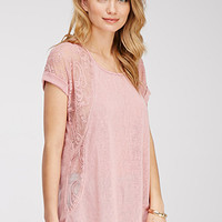 Embroidered Lace Slub Knit Top