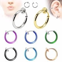 QCOOLJLY Fashion Hot Sale 12 Colors Stealth Clip On Earrings For Women Men NO Hole Clip Earrings ear Cuff Nose Clips