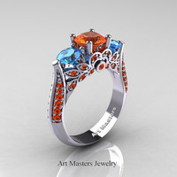 Classic 14K White Gold Three Stone Orange Sapphire Blue Topaz Solitaire Ring R200-14KWGBTOS