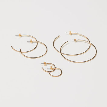 3 Pairs Earrings - Gold-colored - Ladies | H&M US