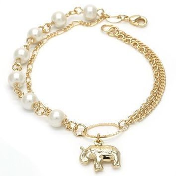 Gold Layered 03.32.0111.08 Charm Bracelet, Elephant and Figaro Design, with Ivory Mother of Pearl, Polished Finish, Golden Tone