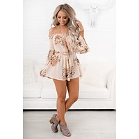 Expect Too Much Floral Romper (Peach)