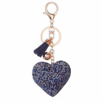 Heart and Tassel Gilttering Key Chain