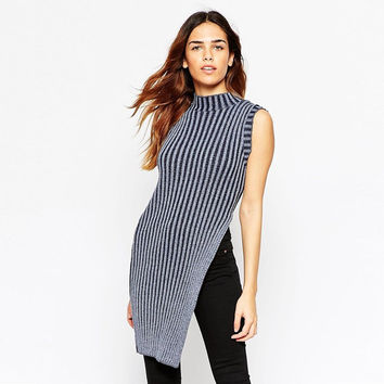 Sleeveless Striped Sweater