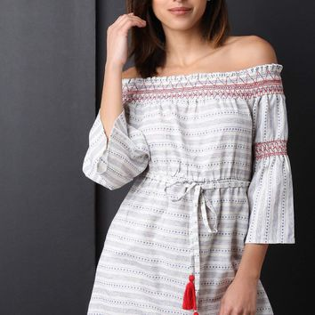 Embroidered Textured Smocked Bardot Dress
