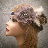 1920s Gatsby style Downton Abbey Blue Gray Art Deco Flapper Headband Head Piece Pearl Flower Floral Feather Rhinestone Crystal Trim 1920's