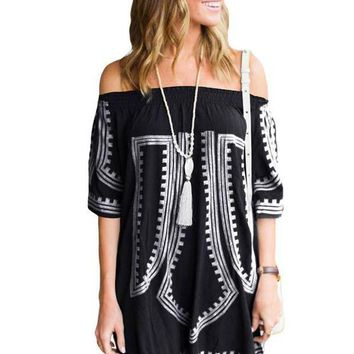PEAP78W Black Bohemian Vibe Geometric Print Off The Shoulder Beach Dress