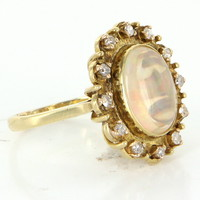Vintage Jelly Opal Diamond Princess Cocktail Ring 18 Karat Gold Estate Fine Jewelry
