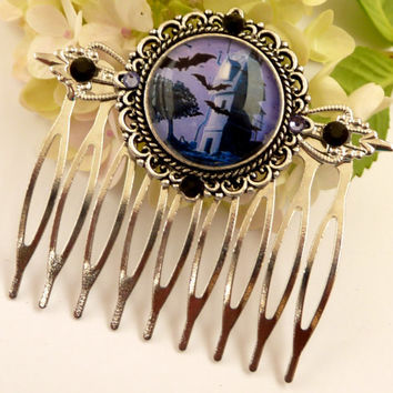 Original Halloween hair comb in silver with bats and castle, Gothic hair accessories, rhinestone hair comb, night, purple hair comb