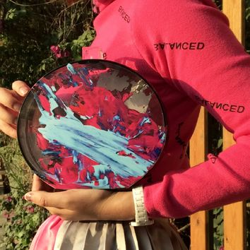 Abstract Acrylic Splatter Paint Round clutch