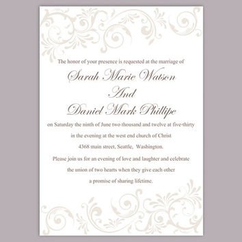 DIY Wedding Invitation Template Editable Word File Instant Download Elegant Gray Wedding Invitation Silver Invitations Printable Invitation