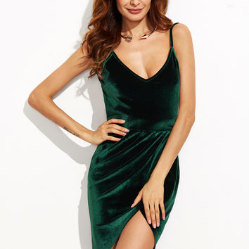 Dark Green Backless Ruched Velvet Wrap Cami Dress
