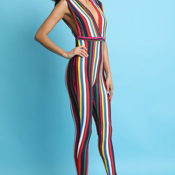Colorful Striped Plunging V-Neck Fitted Jumpsuit | UrbanOG