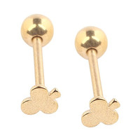 """Ruifan 2pcs Gold Plated Anodized Titanium Club Straight Barbell Nipple Tongue Ring Piercing 14G 5/8"""""""