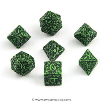 Green Forest 7-Dice Set | Awesome Dice