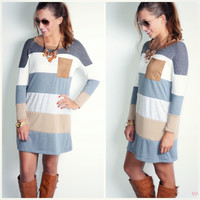 SZ LARGE Off The Block Ivory Colorblock Pocket Shift Dress