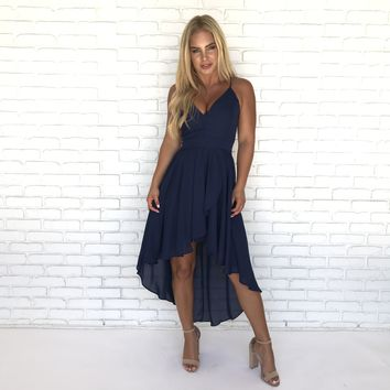 My Everything Navy Hi-Low Chiffon Dress