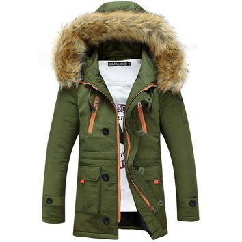 Thickening Parkas Men Winter Jacket Men's Coats Male Outerwear Fur Collar Casual Long Cotton Wadded men Hooded Coat