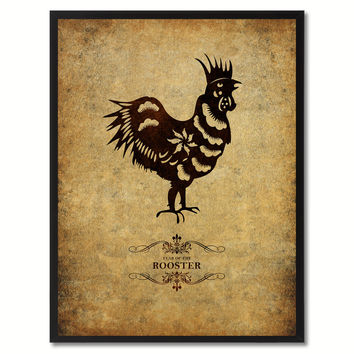Rooster Chinese Zodiac Canvas Print, Black Picture Frame Home Decor Wall Art Gift