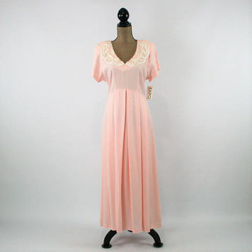 Light Pink Dress Women Large Pastel Spring Dress Romantic Tea Dress Empire Waist Short Sleeve Size 12 Dress Vintage Clothing Womens Clothing