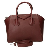 Givenchy Small Antigona Womens Goatskin Leather Brown, Red Top Handle Bags