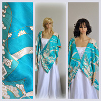 Royal Kimono Cape Japanese Silk Kaftan Poncho Bohemian Wrap Sleeves Blue Authentic Asian Wedding