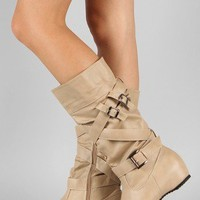 Sonia-1 Buckle Slouchy Riding Mid Calf Boot