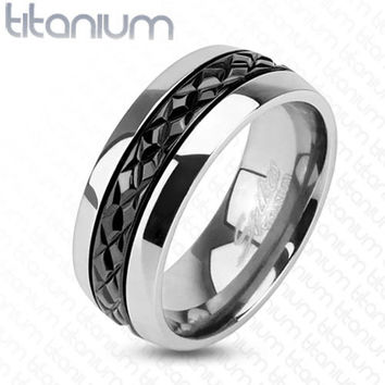 8mm Diagonal Cut Pattern Black IP Centered Ring Titanium Men's Ring