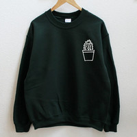 Cactus pot dark green sweatshirt