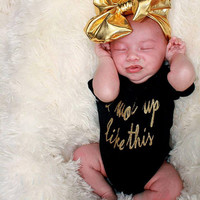 Metallic Gold Shimmer Messy Bow Headband - Baby, Infant Toddler Headwrap - Over the Top Large Turban Headbands - Tamed or Ultimate