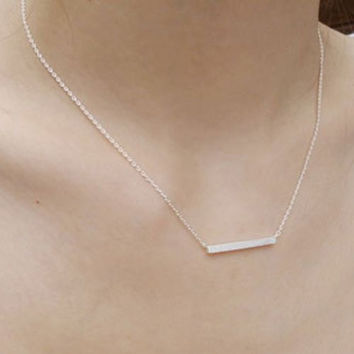 Delicate Gold or Silver Horizontal Bar Pendant Necklace Perfect Gift for Her