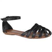 Womens Flat Sandals Layered Strappy Casual Shoes Black