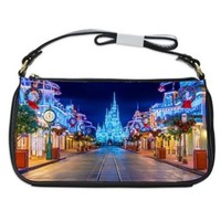 Main Street At Night Disneyland Handbag Shoulder Bag Black Leather