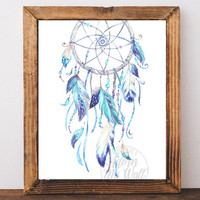 Blue Dream catcher  print, dreamcatcher wall art, boho dream catcher, Instant download, tribal, Watercolor, Blue Feathers printable