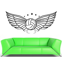 Wall Vinyl Sticker Decal Volleyball Ball Wings Sports Game Competitions Unique Gift (ed424)