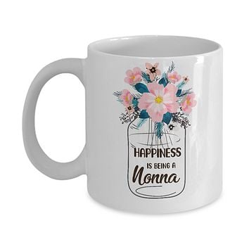 Happiness Is Being Nonna Life Flower Nonna Gifts Mug