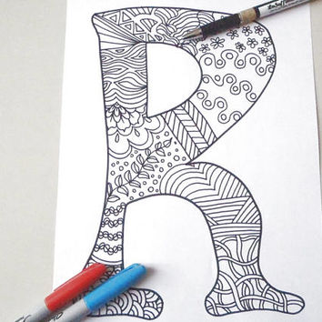 r letter colouring alphabet zentangle kids doodle zen adult coloring book download art  home decor printable print digital lasoffittadiste