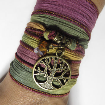 Bohemian Silk Wrap Bracelet Tree of Life Yoga Jewelry Earthy Fall Etsy Gift For Her Christmas Stocking Stuffer Mother's Day Unique Gift