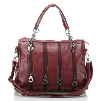 Women Travel Leather Bowling Bag Four Zippers Motor Satchel Bag Small Shoulder Messenger Bags