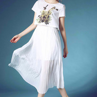 White Floral Top and Pleated Dress