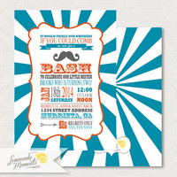 Mustache Bash / Little Man Invitation Printable for Baby Shower / Birthday Parties - White