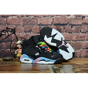 Air Jordan Retro 6 GS Black Multi Color Kid Basketball Shoes