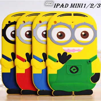 2017 Lovely Cute Kids Protective Shockproof 3D Cartoon Soft Silicone Minion Case Cover For iPad mini 1/2/3 7.9 inch Back Case
