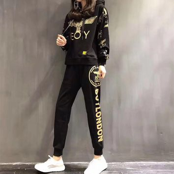 """Boy London"" Women Casual Fashion Eagle Letter Pattern Print Long Sleeve Hooded Trousers Set Two-Piece Sportswear"